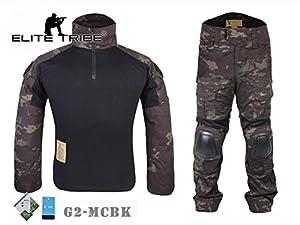 Airsoft Uniforme militaire BDU G2Pour la chasse Veste et pantalon Camouflage Noir