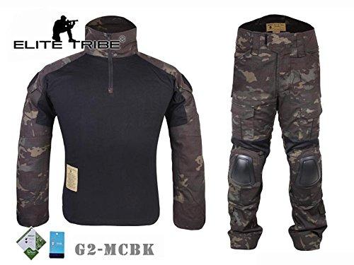 Elite Tribe Airsoft Caza táctico Militar para BDU Combate G2Uniforme Camiseta Pantalones Multicam Negro