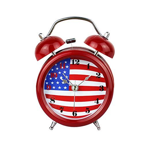 Bandiera americana metallo creativo sveglia, con luce notturna muto, soggiorno camera da letto ufficio decorazione desktop casa, 12 cm (5 pollici), rosso
