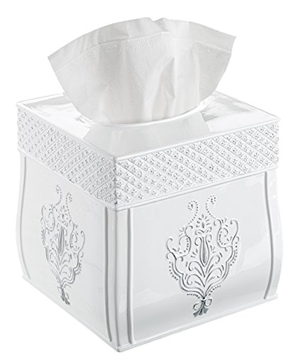 Creative Scents Tissue Box Cover, Decorative Square Tissue Box Holder is Finished in Beautiful Vintage White Bathroom Accessories