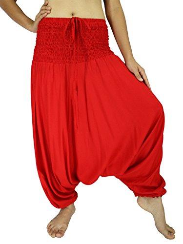 Rosina Donna Harem Smocked Vita 2tipi tuta pantaloni Red Dimensioni dell'etichetta