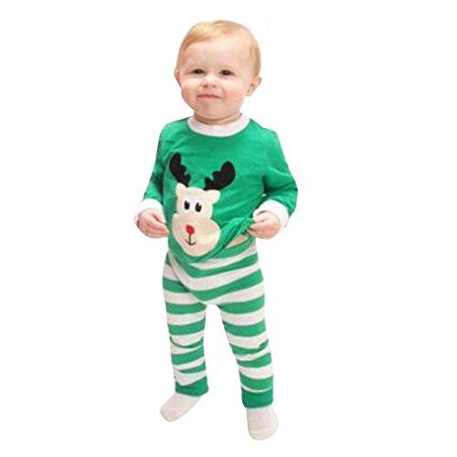 ZARU Bebé de la Navidad Elk impresión de banda de manga larga Top Trajes Set (1PC 1PC camisa + pantalones) (100)
