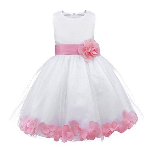 YiZYiF Mädchen Kleid Prinzessin Kleid Blumenmädchen Hochzeit Festzug Gebunden Taille 92-164 (140 (Herstellergröße: 10), Rosa) (Ostern Foto Prop)