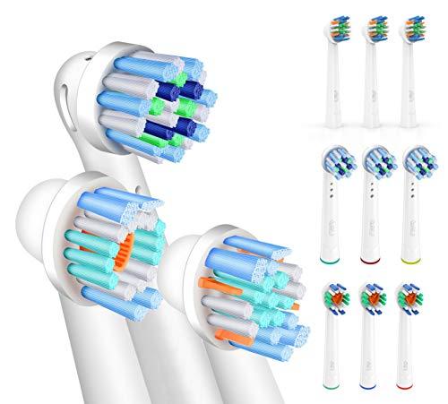 FLM 12 Stück Ersatzbürstenköpfe für elektrische Zahnbürsten, kompatibel mit Braun Oral B, Packung mit 4 Stück CrossAction + 4pzs FlossAction + 4pzs 3D White -