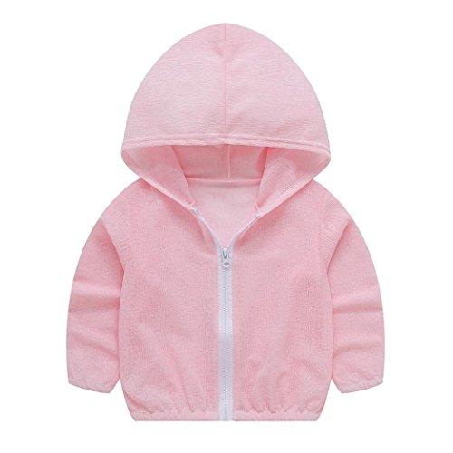 Ears Toddler Summer Sunscreen Jackets Kleinkind Sommer Sonnencreme Jacken Baby Mädchen mit Kapuze Oberbekleidung Solid Zip Coats (100, Rosa)