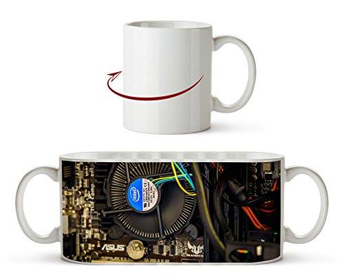 Intel CPU Kühler als Motivetasse 300ml, aus Keramik weiß, wunderbar als Geschenkidee oder ihre neue Lieblingstasse.