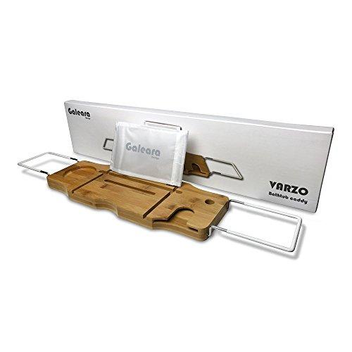 Badewannenablage mit Buchstütze und Glashalter Badewannenauflage - Badewannentisch Badewannentablett Holz Mit Weißem Gummi - Badewannenbrett In Geschenkbox
