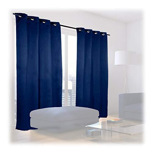 Relaxdays 10020636_193 tende oscuranti con anelli, set da 2, tinta unita, lavabile hlp: 245 x 135 x 0,5 cm, blu scuro