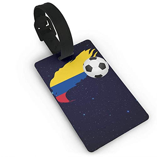 Soccer Ball with Colombia Flag Luggage Tag Travel Suitcases Bag Tags