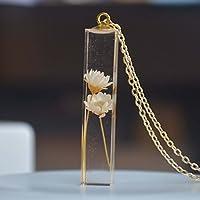 Gänseblümchen Elfenbein Echte Blume Transparent Würfel Resin 18K Vergoldet Lange Halskette 65cm Kette