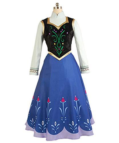 MingoTor Prinzessin Anna Kostüm Cosplay Halloween Fasching Party Kleider Erwachsene Blau XL