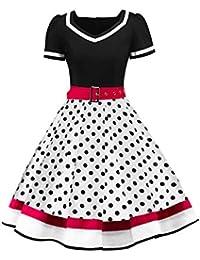 c14fbb369590da MisShow Damen elegant 50er Jahre Petticoat Kleider Gepunkte Rockabilly  Kleider…