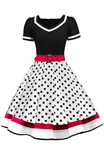 MisShow Damen elegant Kurz Arm Rockabilly Kleid Petticoat Kleid 50er Jahre Rockabilly Kleid Weiss XL