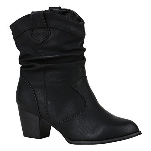 Stiefelparadies Damen Cowboy Boots Leder-Optik Stiefeletten Blockabsatz Stiefel Schuhe 149623 Schwarz Agueda 40   Flandell® (Cowboy Cowgirl Stiefel)