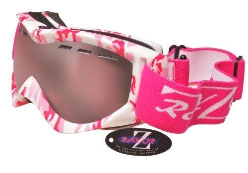 Rayzor professionnels UV400 doubles lensed ski / snowboard Lunettes, avec un cadre rose de camouflage avec un anti brouillard, Effacer Rose ventilé anti-éblouissement Clarity large Vision Lentille