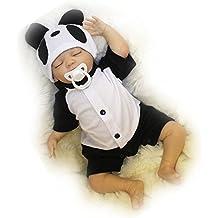 Yesteria 45 cm Realista Reborn Bebé Chico Silicona Vinilo Suave Tacto Muñeca Ojo Cerrado Traje de Panda