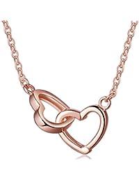 yumilok joyas plata de ley 925intercambiables de corazones entrelazados chapado en plata/oro rosa colgante forma colgante Necklet para las mujeres/niñas