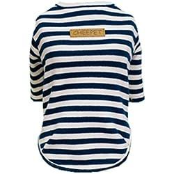 T-shirt Chien Confort Coton Style Classique Rayure Sans Doublure Vêtements D'automne Pour Animaux - Bleu foncé, XL