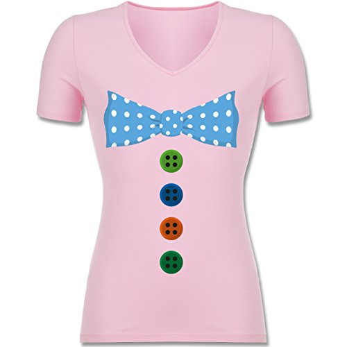Shirtracer Karneval & Fasching - Clown Kostüm Blaue Fliege - Tailliertes T-Shirt mit V-Ausschnitt für Frauen Rosa