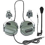 Gocher Auriculares tácticos Recogida de Sonido Orejeras de Seguridad para la versión de Casco Auriculares de reducción de Ruido con Adaptador de riel para protección auditiva Radio Auriculares-OD