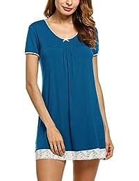3e18cf3f64cdf HOTOUCH Femme Chemise de Nuit Coton Manche Courte Robe de Nuit Pyjama  Nuisette S-XXL