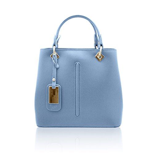 VALENTINA Sac portés main à bandoulière avec couture avant, cuir lisse, fabriqué en Italie Bleu clair