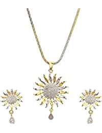 Geode Delight Gold Plated Sun Design Pendant Set With Earring