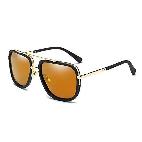 SHEEN KELLY Retro Männer polarisierenden sonnenbrillen piloten Platz der metallische Gläser Sonnenbrillen Spiegel Linsen Braun