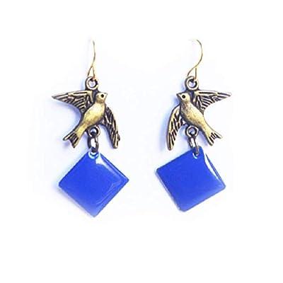 boucles d'oreille oiseau bronze - sequin émaillé bleu - bijou femme en métal - cadeau nature animal - made in france