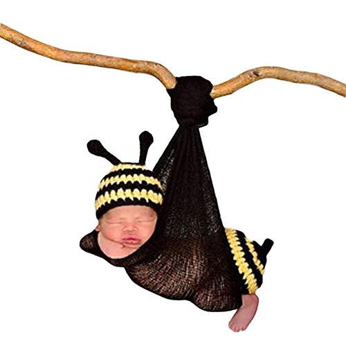 3PCS Säugling Neugeborenes Baby Mädchen häkeln Kostüm Outfits Fotografie Requisiten Mühsame Biene Hut+Outfit+Wickeltuch 0-3 ()