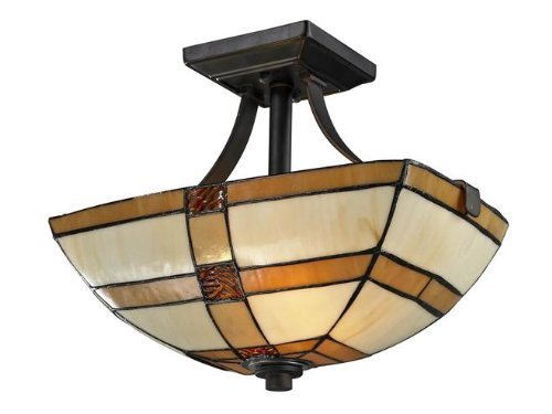 Dale Tiffany Flush (Dale Tiffany TH12455 Brisdol Semi Flush Mount Light Fixture, Dark Bronze by Dale Tiffany Lamps)