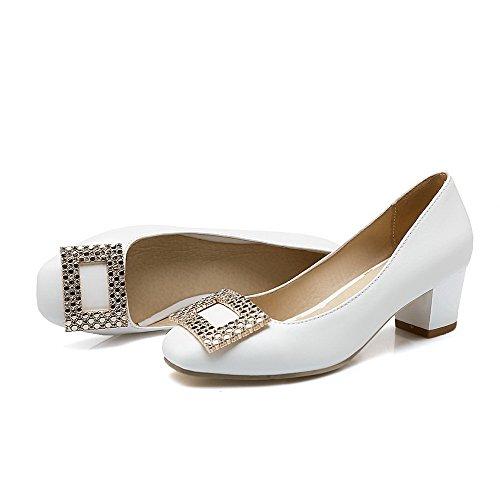 AgooLar Damen Ziehen Auf Quadratisch Zehe Mittler Absatz Pu Leder Rein Pumps Schuhe Weiß