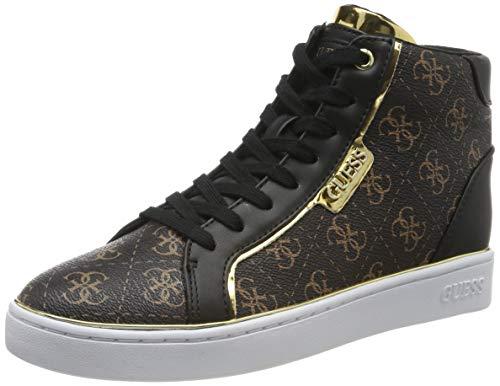 Guess Brina/Stivaletto (Bootie)/Leat, Sneaker a Collo Alto Donna, Marrone (Brown Br Blk), 38 EU