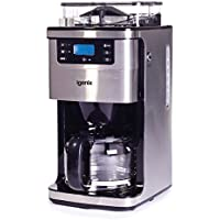 Igenix IG8225 Bean to Cup Filter Coffee Maker, 12 Cup Carafe, Automatic 24 Hour Timer and Keep Warm Function, Grinder that Avoids Jams, 1.5 Litre, Stainless Steel