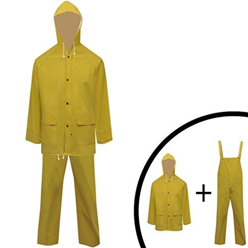 Festnight 2-tlg. Regenanzug Regenkombi mit Kapuze 1 Regenjacke + 1 Regenlatzhose Wasserdicht Regenbekleidung Hochbelastbar Gelb M