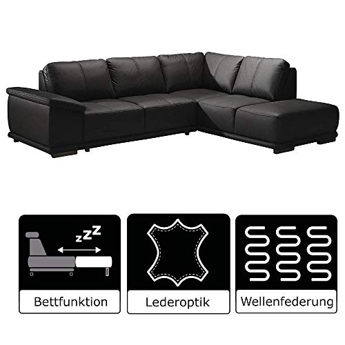 Cavadore Ecksofa Calypse mit Bett /  Schlafsofa mit Ottomane rechts / Modernes Design / 273 x 83 x 214 (BxHxT) / Lederoptik schwarz