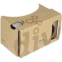 Durovis Dive Cardboard 6 - Braun - Virtual Reality Headset Inspired by Google Cardboard V2 - für 3D-Games, Filme, Videos, Apps aus Play- und Itunes-Store - für Android & iOS Smartphones bis zu 6 Zoll