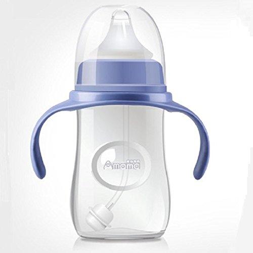 XW Maternales Y Ni?os Suministros Pp Botella Bebé Gota Anti-flatulencia de Calibre Ancho Silicona Bebé con Mango Botella 300ml,Azul,300 ml