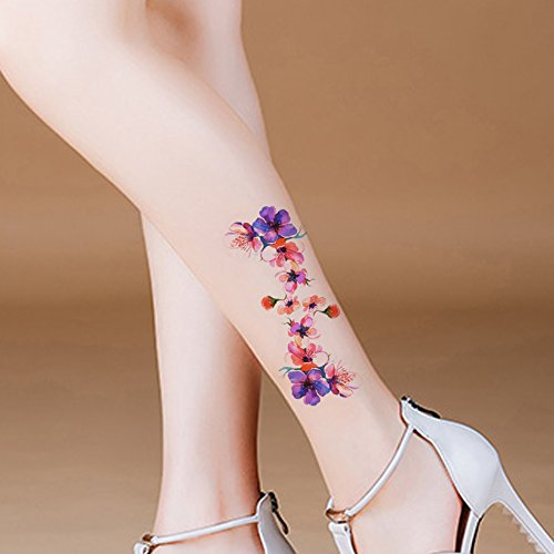TAFLY Blume Tattoo kleine Körper Kunst Transfer Bein temporäre Tattoo Sticker 5 Blätter