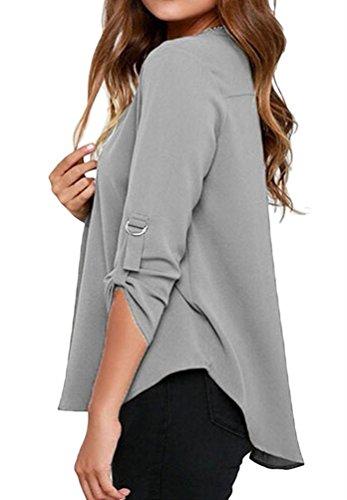 Cfanny, camicetta da donna in chiffon, scollo a V, a maniche corte o lunghe Long Sleeve Grey