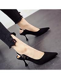 FLYRCX Im europäischen Stil seicht sexy Persönlichkeit Sandalen Frühling und Sommer Damen feine Heel shoe party Schuhe, 38, EIN