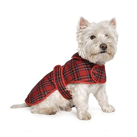 Ancol Muddy Paws Highland Tartan Warm Cosy Fleece Lined Dog Coat Jacket - Medium