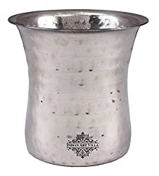IndianArtVilla Steel Hammered Curved Glass Tumbler Cup|Serving Drinking Water|Volume 280 ML