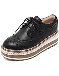primavera y otoño viento de zapatos Inglaterra mujeres/Zapatos de plataforma de fondo grueso/Zapatos planos/Vintage encaje zapatos de mujer Brock tallada/zapatos casuales