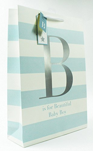 Mama Ballon Sein Zu (New Schöne Baby Boy große Geschenktasche blau gestreift Taufe für Ihn)