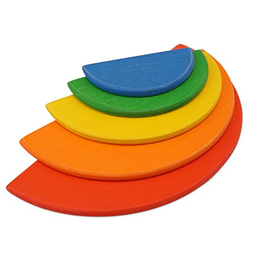 Montessori Waldorf School - 5 Piece Rainbow Wooden Semicircles - For Use with 6PC Stacking Rainbow (19cm)
