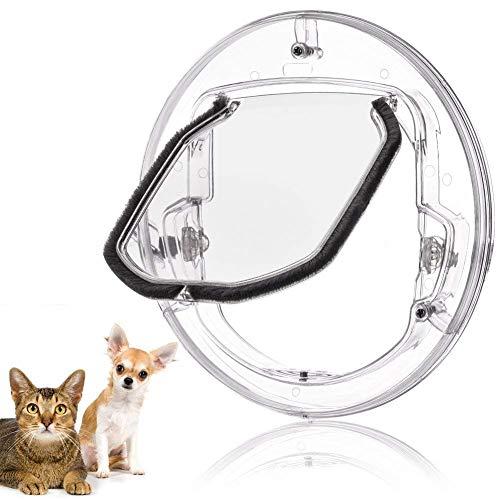 DDPP Katzenklappe Haustier Tür, Welpen Katze Türschloss hat 4 Möglichkeiten, runde transparente Katzenklappe und Türfutter, das Beste Kit