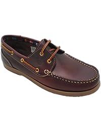 Zapatos Náuticos de Piel para Hombre, mod.1688, Made in Spain, Garantia de Calidad.