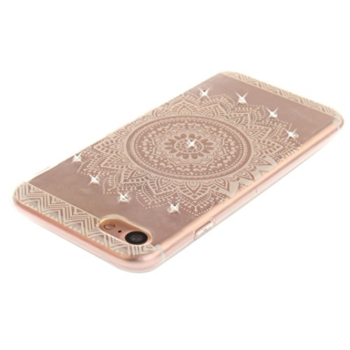 iPhone 7 Schutzhülle, Rosa Schleife iPhone 7 Crystal Case Handyhülle Ultra Dünn TPU Silikon Backcover Durchsichtig Gel Case Diamond Bling Schutzhülle klar für iPhone 7 mit Mandala Sonnenblume Design i a - Weiß Mandala