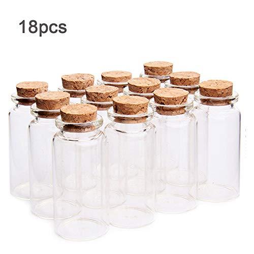 18 Stück 10ml Mini Glasflaschen Probe Gläser mit Korken, 10ml Leere Probe Glasflasche Gläser,Mini Fläschchen mit Korken für DIY Dekoration, Düfte (Leere Fläschchen)